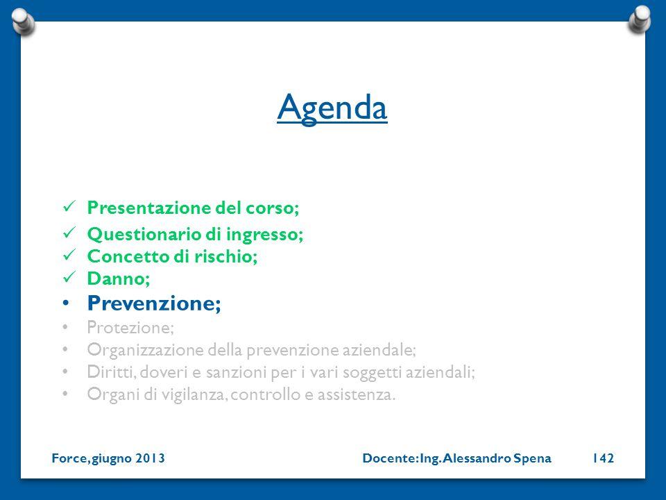 Docente: Ing. Alessandro SpenaForce, giugno 2013142 Presentazione del corso; Questionario di ingresso; Concetto di rischio; Danno; Prevenzione; Protez