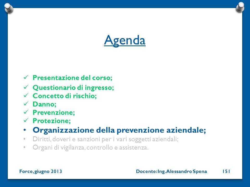 Docente: Ing. Alessandro SpenaForce, giugno 2013151 Presentazione del corso; Questionario di ingresso; Concetto di rischio; Danno; Prevenzione; Protez