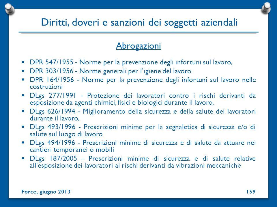 DPR 547/1955 - Norme per la prevenzione degli infortuni sul lavoro, DPR 303/1956 - Norme generali per ligiene del lavoro DPR 164/1956 - Norme per la p