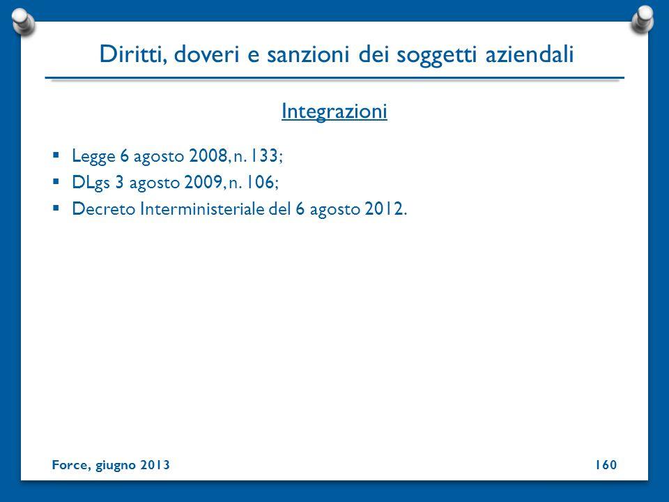 Legge 6 agosto 2008, n. 133; DLgs 3 agosto 2009, n. 106; Decreto Interministeriale del 6 agosto 2012. Integrazioni Force, giugno 2013 Diritti, doveri