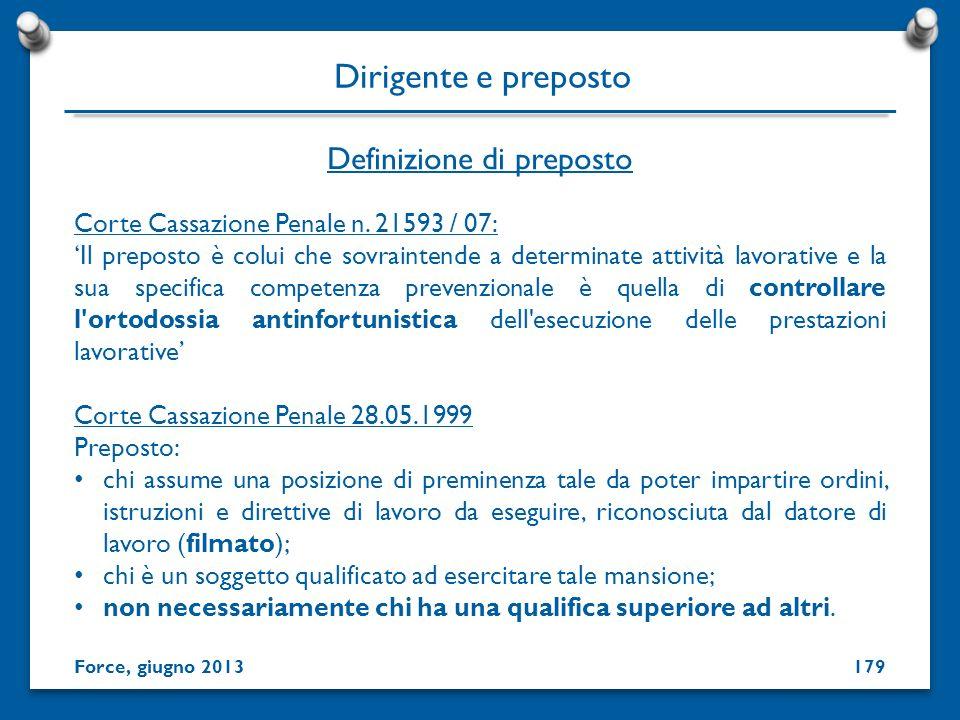 Definizione di preposto Dirigente e preposto Corte Cassazione Penale n. 21593 / 07: Il preposto è colui che sovraintende a determinate attività lavora