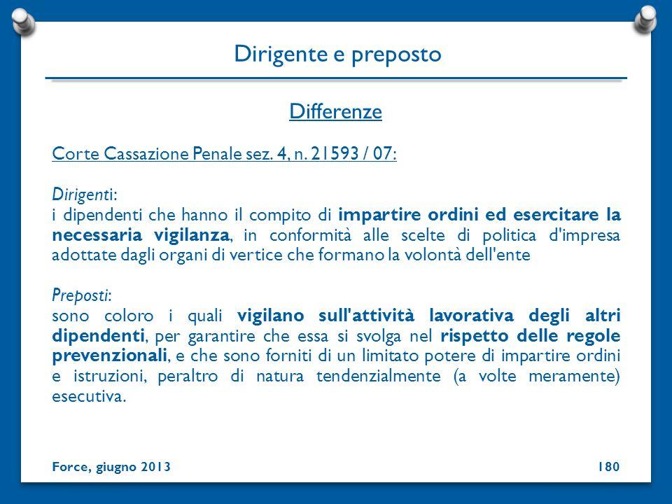 Differenze Dirigente e preposto Corte Cassazione Penale sez. 4, n. 21593 / 07: Dirigenti: i dipendenti che hanno il compito di impartire ordini ed ese