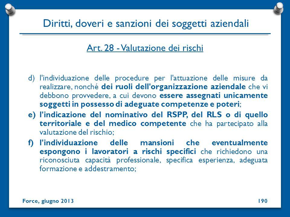 Art. 28 - Valutazione dei rischi d)l'individuazione delle procedure per l'attuazione delle misure da realizzare, nonché dei ruoli dell'organizzazione