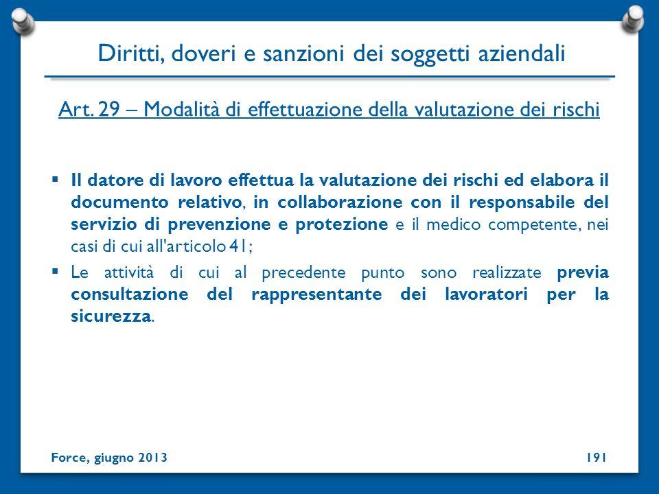 Art. 29 – Modalità di effettuazione della valutazione dei rischi Il datore di lavoro effettua la valutazione dei rischi ed elabora il documento relati