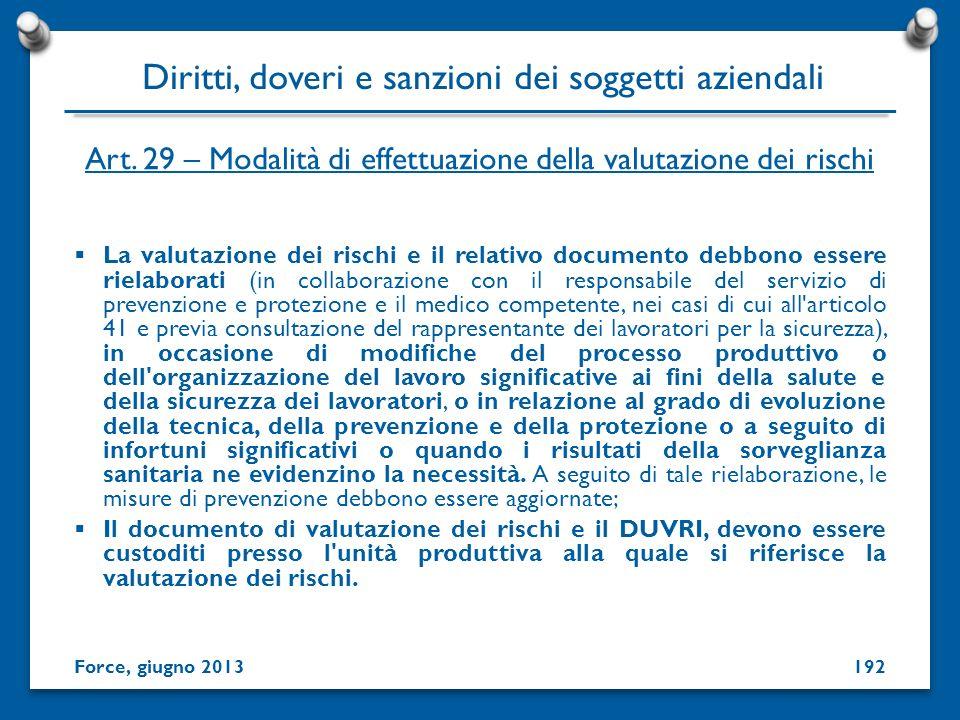 Art. 29 – Modalità di effettuazione della valutazione dei rischi La valutazione dei rischi e il relativo documento debbono essere rielaborati (in coll