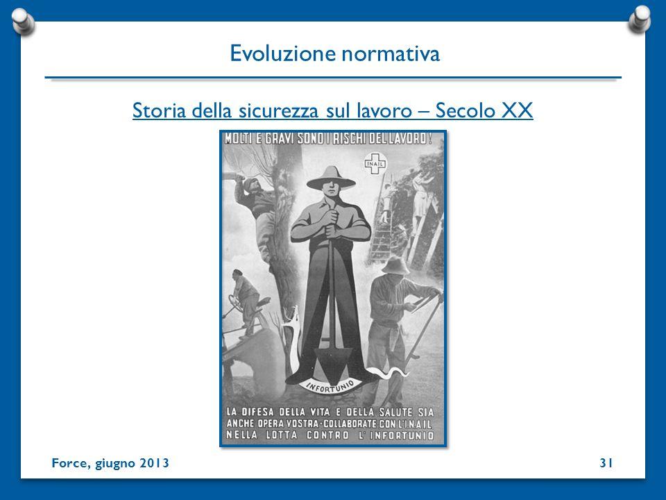 31 Storia della sicurezza sul lavoro – Secolo XX Evoluzione normativa Force, giugno 2013