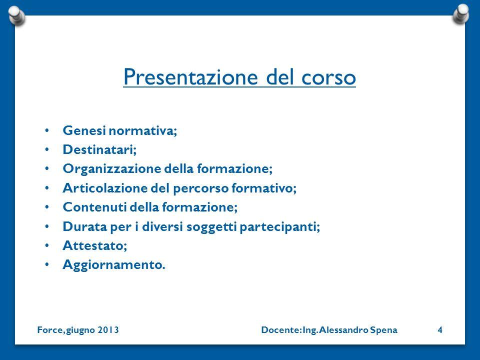 Docente: Ing. Alessandro SpenaForce, giugno 20134 Genesi normativa; Destinatari; Organizzazione della formazione; Articolazione del percorso formativo