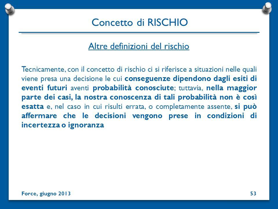 Tecnicamente, con il concetto di rischio ci si riferisce a situazioni nelle quali viene presa una decisione le cui conseguenze dipendono dagli esiti d