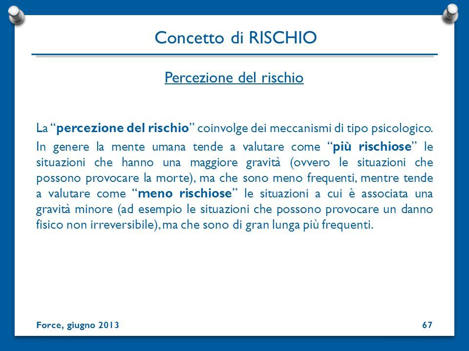 Percezione del rischio La percezione del rischio coinvolge dei meccanismi di tipo psicologico. In genere la mente umana tende a valutare come più risc