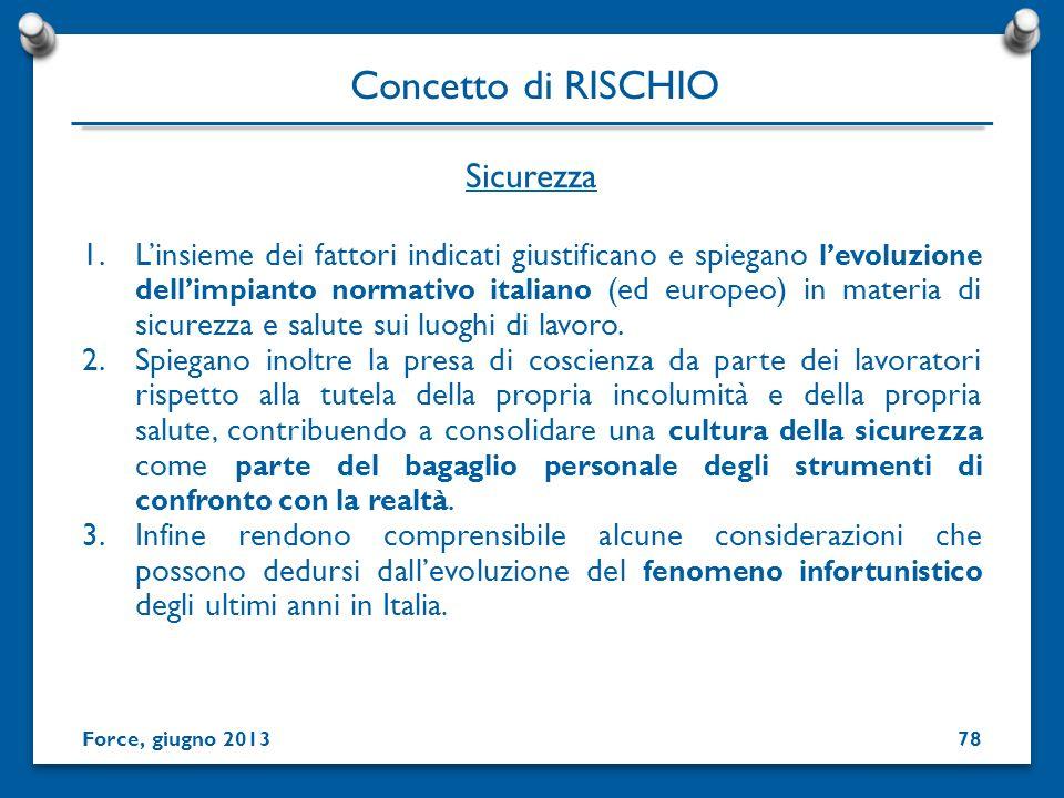 1.Linsieme dei fattori indicati giustificano e spiegano levoluzione dellimpianto normativo italiano (ed europeo) in materia di sicurezza e salute sui