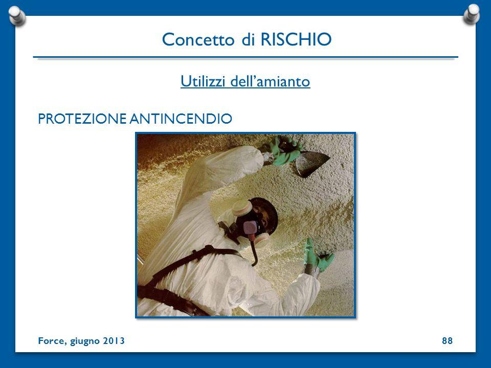PROTEZIONE ANTINCENDIO Utilizzi dellamianto Concetto di RISCHIO Force, giugno 201388