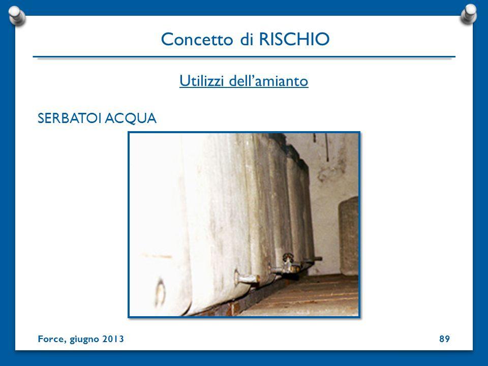 SERBATOI ACQUA Utilizzi dellamianto Concetto di RISCHIO Force, giugno 201389