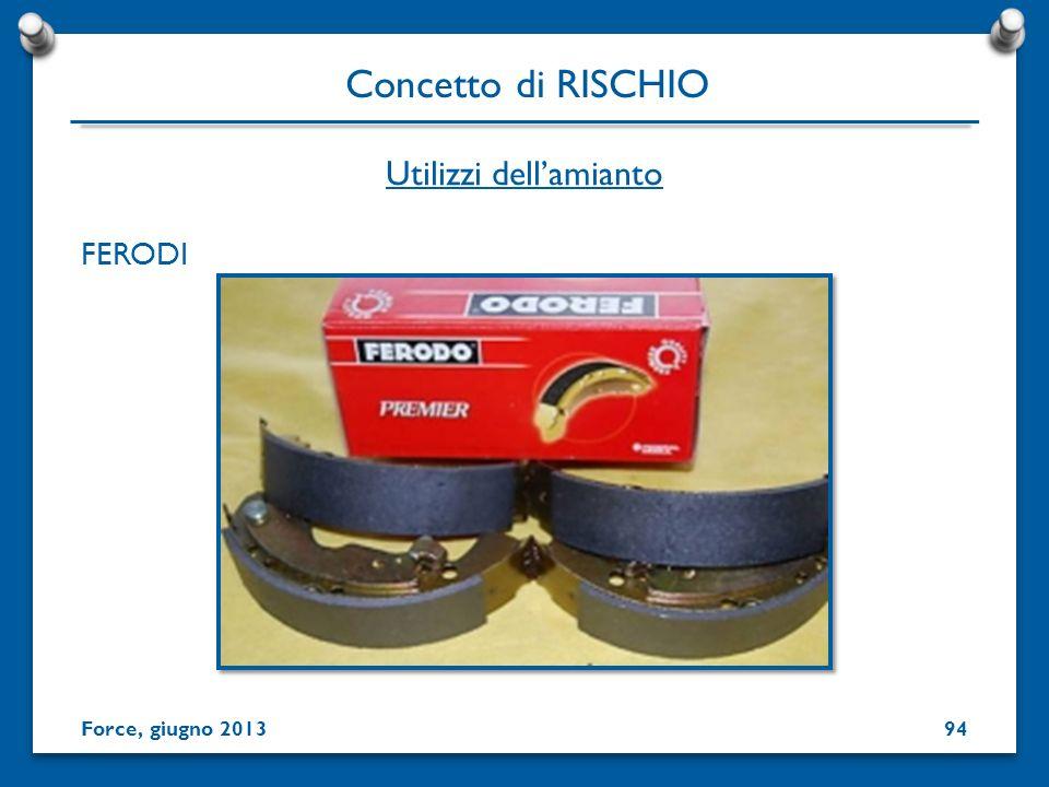 FERODI Utilizzi dellamianto Concetto di RISCHIO Force, giugno 201394