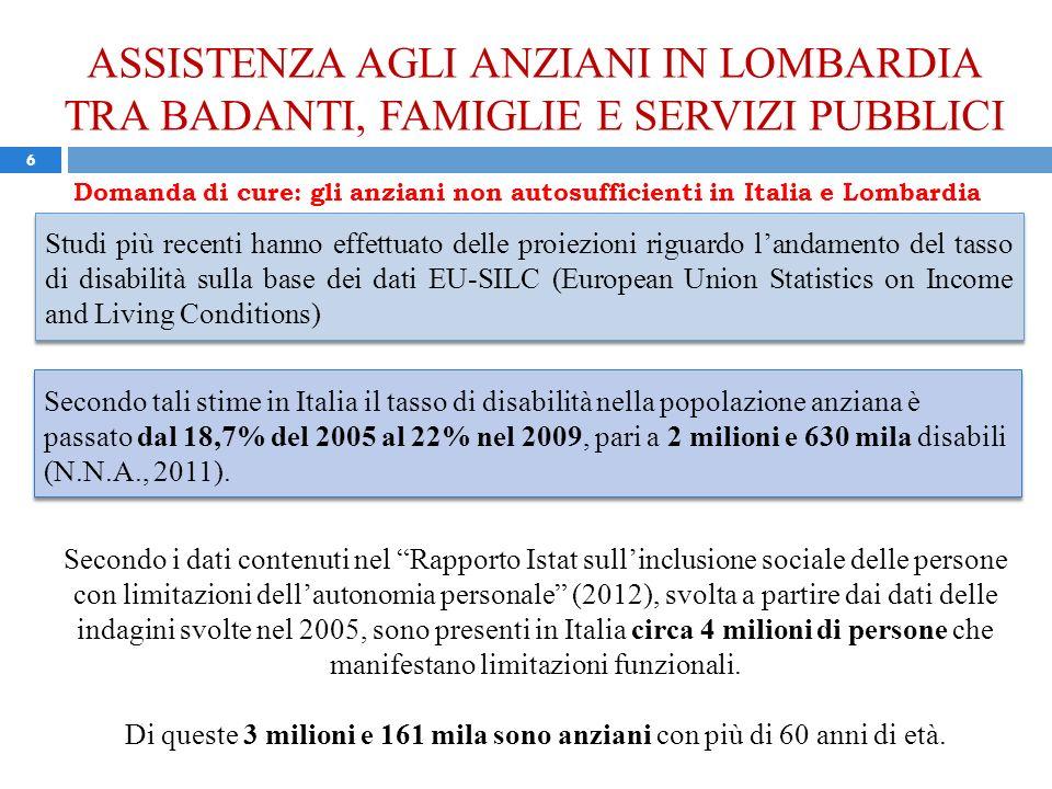 ASSISTENZA AGLI ANZIANI IN LOMBARDIA TRA BADANTI, FAMIGLIE E SERVIZI PUBBLICI 6 Studi più recenti hanno effettuato delle proiezioni riguardo landamento del tasso di disabilità sulla base dei dati EU-SILC (European Union Statistics on Income and Living Conditions) Domanda di cure: gli anziani non autosufficienti in Italia e Lombardia Secondo tali stime in Italia il tasso di disabilità nella popolazione anziana è passato dal 18,7% del 2005 al 22% nel 2009, pari a 2 milioni e 630 mila disabili (N.N.A., 2011).