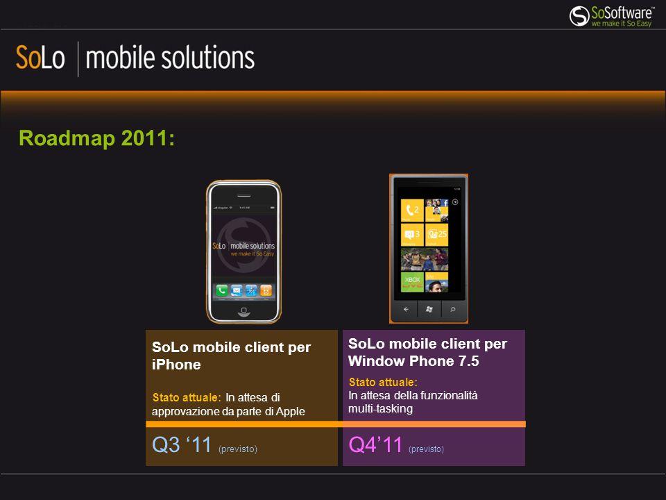 Roadmap 2011: Q3 11 (previsto) SoLo mobile client per iPhone Stato attuale: In attesa di approvazione da parte di Apple Q411 (previsto) SoLo mobile cl