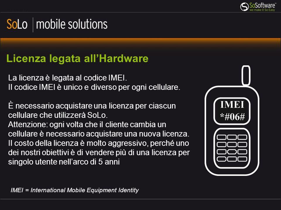 Licenza legata allHardware La licenza è legata al codice IMEI. Il codice IMEI è unico e diverso per ogni cellulare. È necessario acquistare una licenz