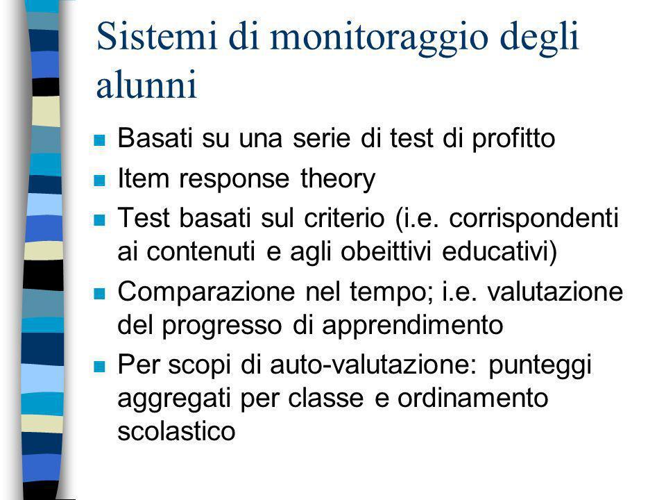 Sistemi di monitoraggio degli alunni n Basati su una serie di test di profitto n Item response theory n Test basati sul criterio (i.e. corrispondenti