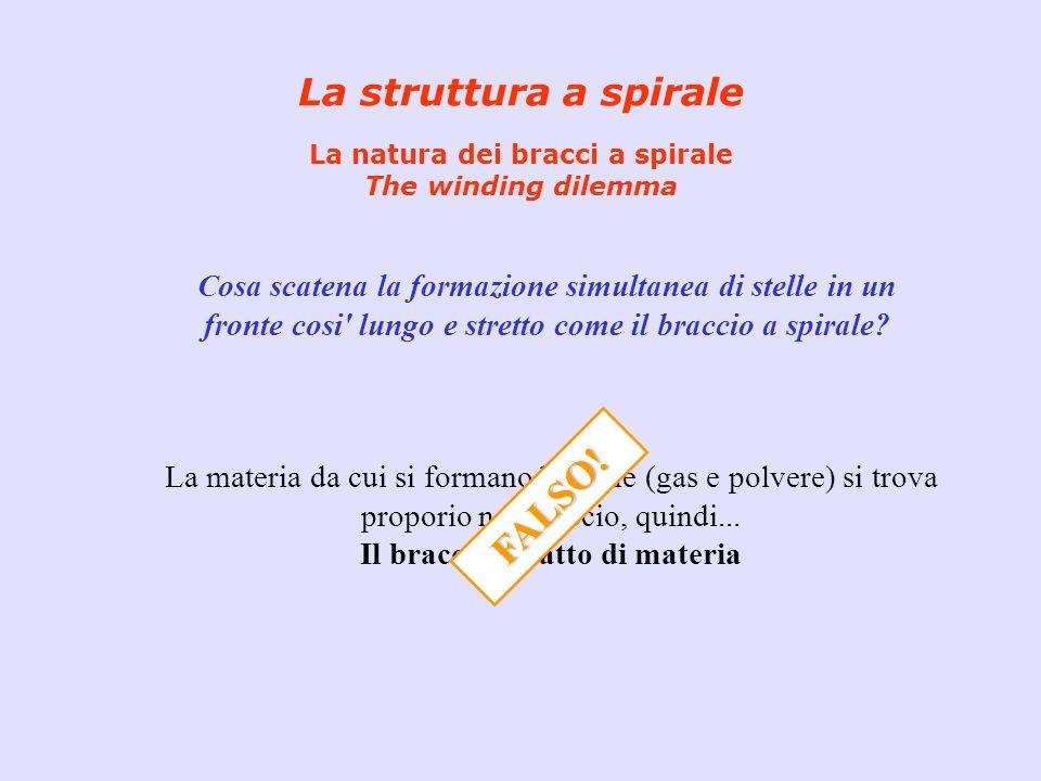 La struttura a spirale La natura dei bracci a spirale The winding dilemma Cosa scatena la formazione simultanea di stelle in un fronte cosi' lungo e s