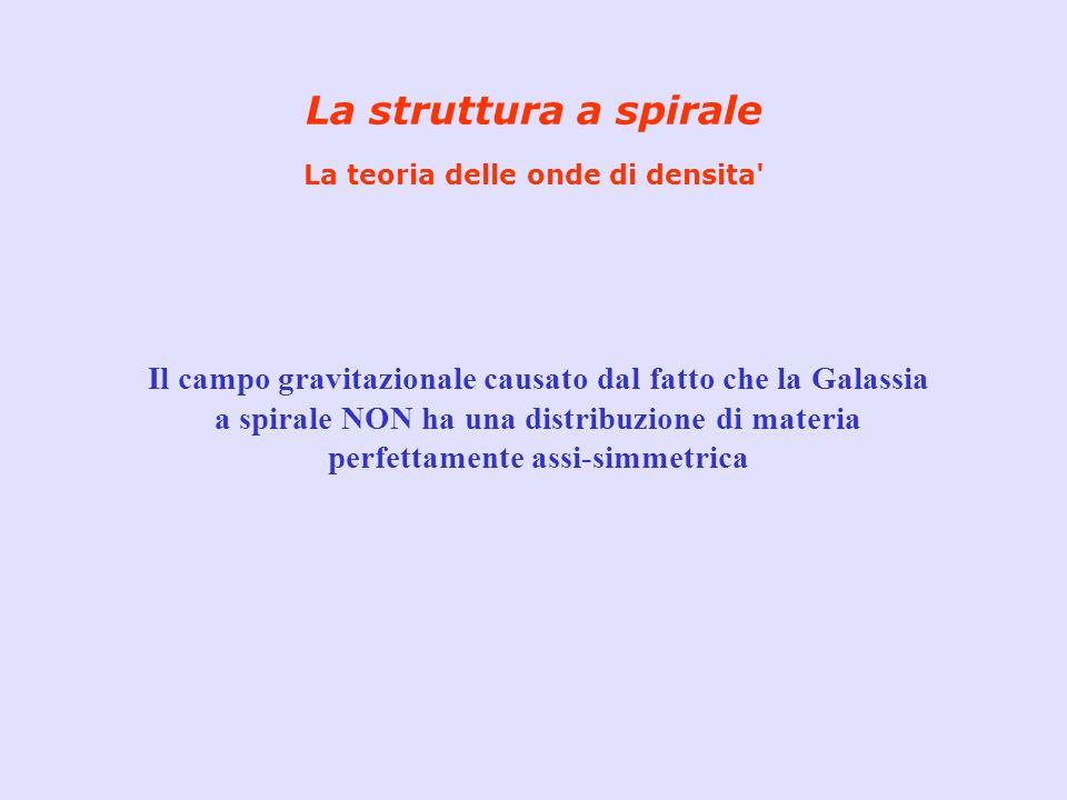 La struttura a spirale La teoria delle onde di densita' Il campo gravitazionale causato dal fatto che la Galassia a spirale NON ha una distribuzione d