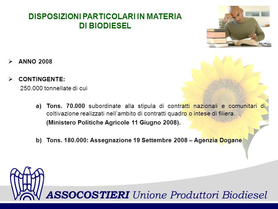 DISPOSIZIONI PARTICOLARI IN MATERIA DI BIODIESEL ANNO 2008 CONTINGENTE: 250.000 tonnellate di cui a)Tons.