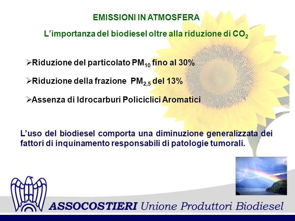 EMISSIONI IN ATMOSFERA Riduzione del particolato PM 10 fino al 30% Riduzione della frazione PM 2,5 del 13% Assenza di Idrocarburi Policiclici Aromatici Limportanza del biodiesel oltre alla riduzione di CO 2 Luso del biodiesel comporta una diminuzione generalizzata dei fattori di inquinamento responsabili di patologie tumorali.