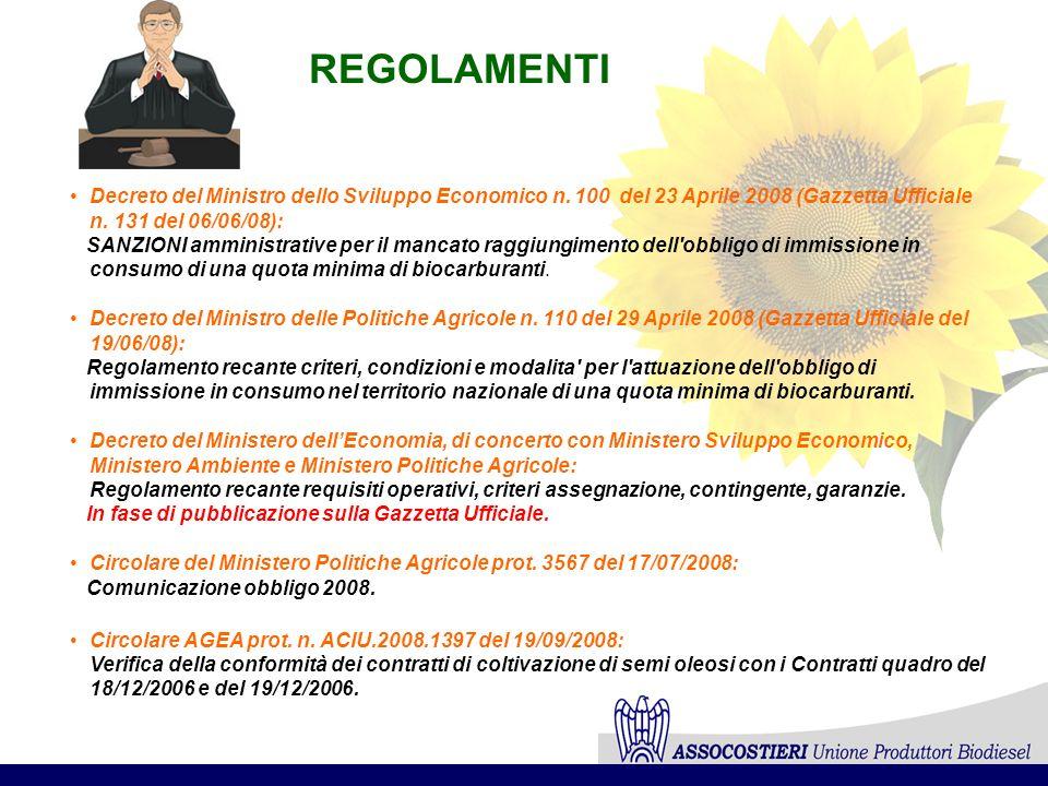 REGOLAMENTI Decreto del Ministro dello Sviluppo Economico n. 100 del 23 Aprile 2008 (Gazzetta Ufficiale n. 131 del 06/06/08): SANZIONI amministrative