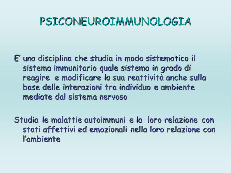 PSICONEUROIMMUNOLOGIA E una disciplina che studia in modo sistematico il sistema immunitario quale sistema in grado di reagire e modificare la sua rea