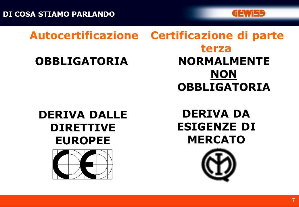 18 Per certificazione di prodotto si intende: Dimostrare che esso risponda a dei requisiti particolari in termini di: - Prestazioni di funzionamento - Sicurezza DI COSA STIAMO PARLANDO