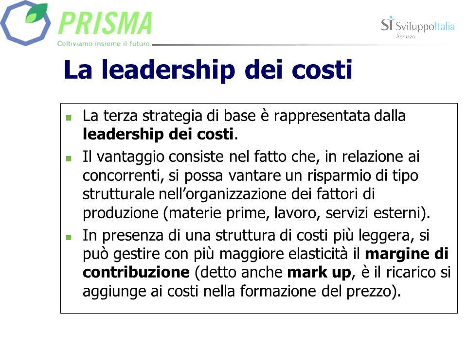 La leadership dei costi La terza strategia di base è rappresentata dalla leadership dei costi. Il vantaggio consiste nel fatto che, in relazione ai co