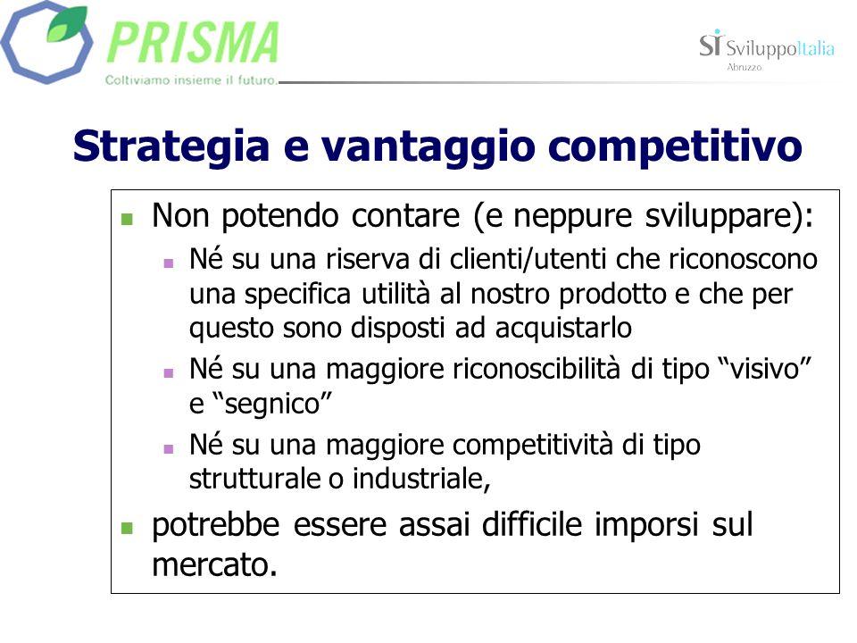 Strategia e vantaggio competitivo Non potendo contare (e neppure sviluppare): Né su una riserva di clienti/utenti che riconoscono una specifica utilit