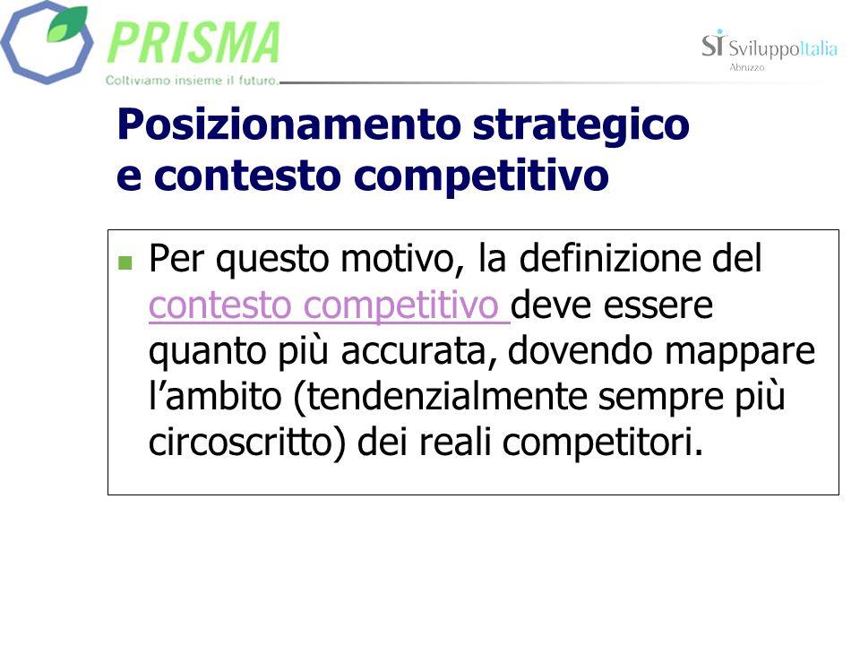 Posizionamento strategico e contesto competitivo Per questo motivo, la definizione del contesto competitivo deve essere quanto più accurata, dovendo mappare lambito (tendenzialmente sempre più circoscritto) dei reali competitori.