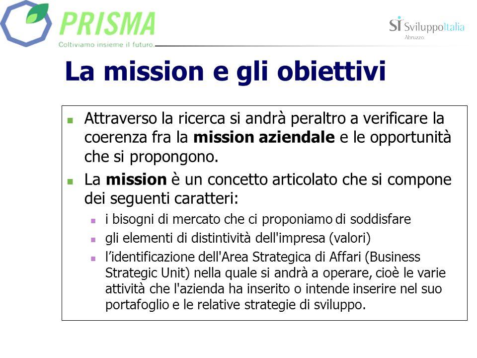 La mission e gli obiettivi Attraverso la ricerca si andrà peraltro a verificare la coerenza fra la mission aziendale e le opportunità che si propongono.