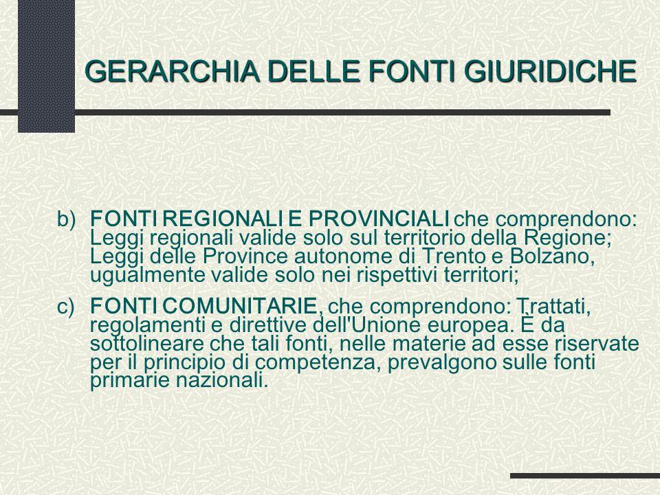 GERARCHIA DELLE FONTI GIURIDICHE b)FONTI REGIONALI E PROVINCIALI che comprendono: Leggi regionali valide solo sul territorio della Regione; Leggi dell