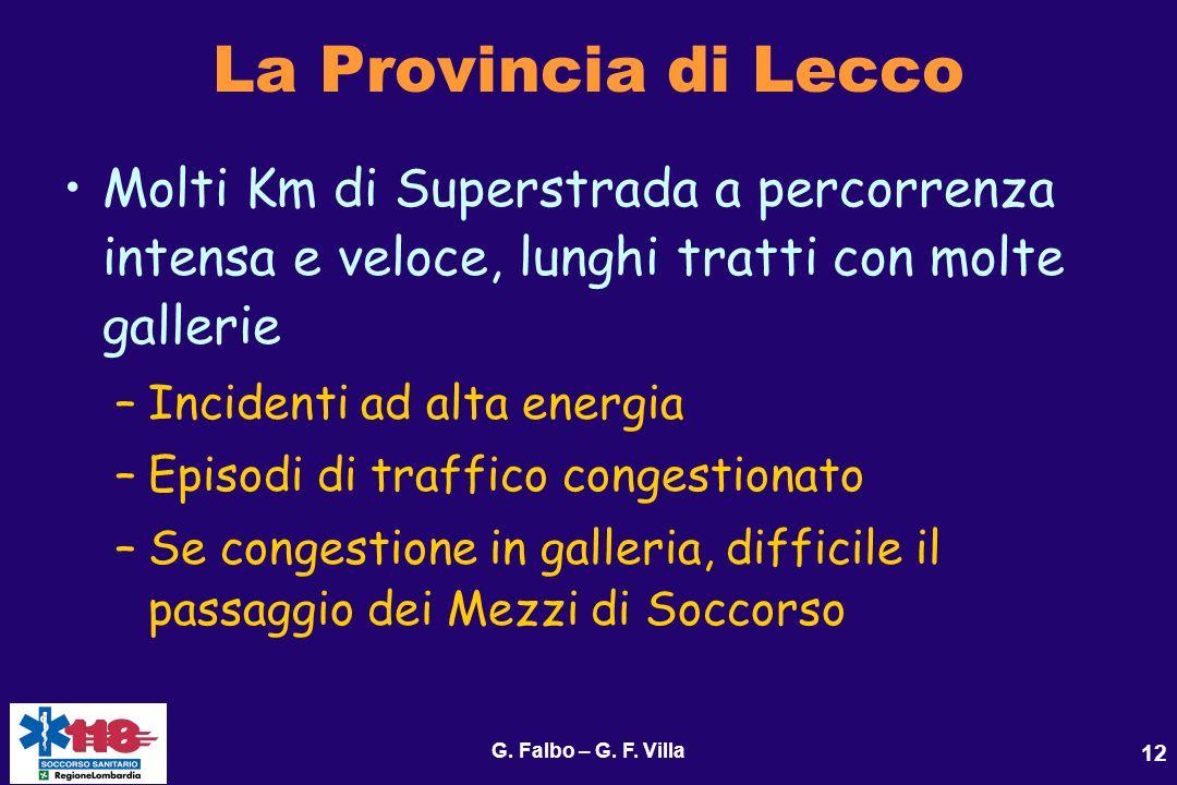 G. Falbo – G. F. Villa 12 La Provincia di Lecco Molti Km di Superstrada a percorrenza intensa e veloce, lunghi tratti con molte gallerie –Incidenti ad