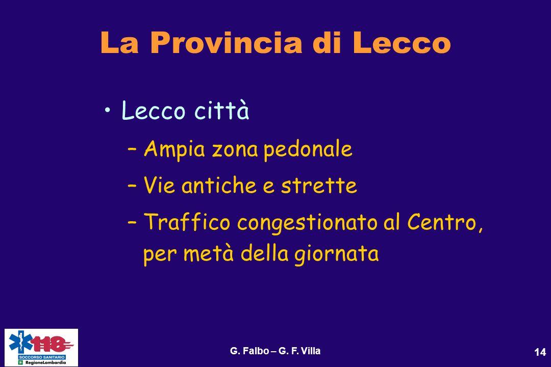G. Falbo – G. F. Villa 14 La Provincia di Lecco Lecco città –Ampia zona pedonale –Vie antiche e strette –Traffico congestionato al Centro, per metà de