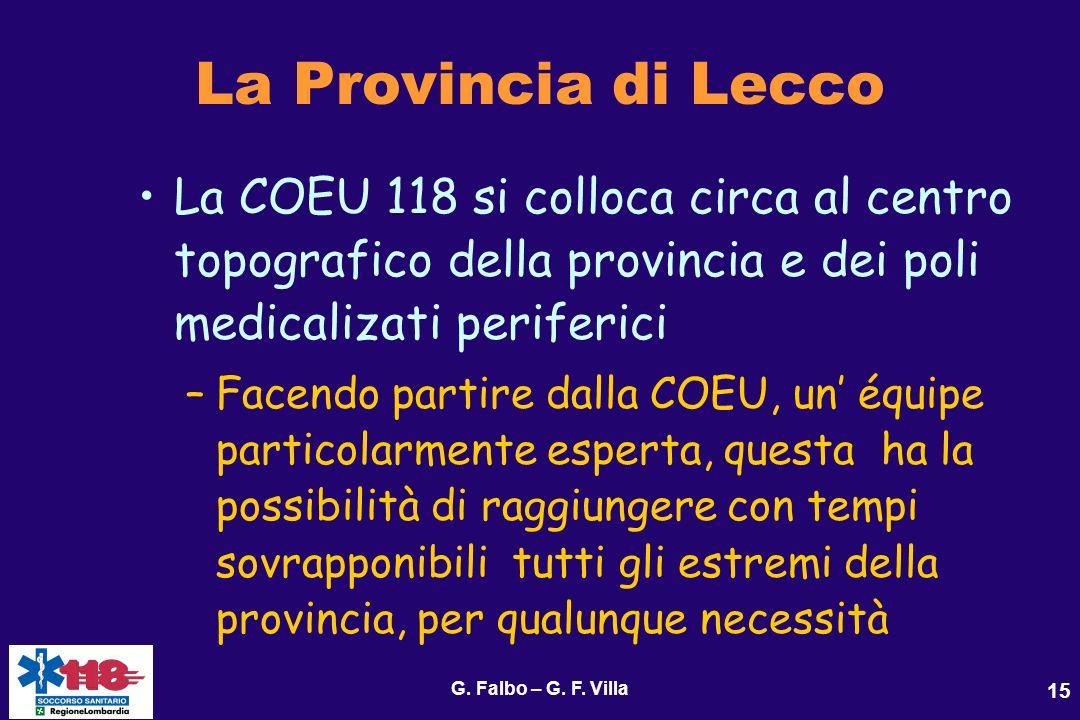 G. Falbo – G. F. Villa 15 La Provincia di Lecco La COEU 118 si colloca circa al centro topografico della provincia e dei poli medicalizati periferici