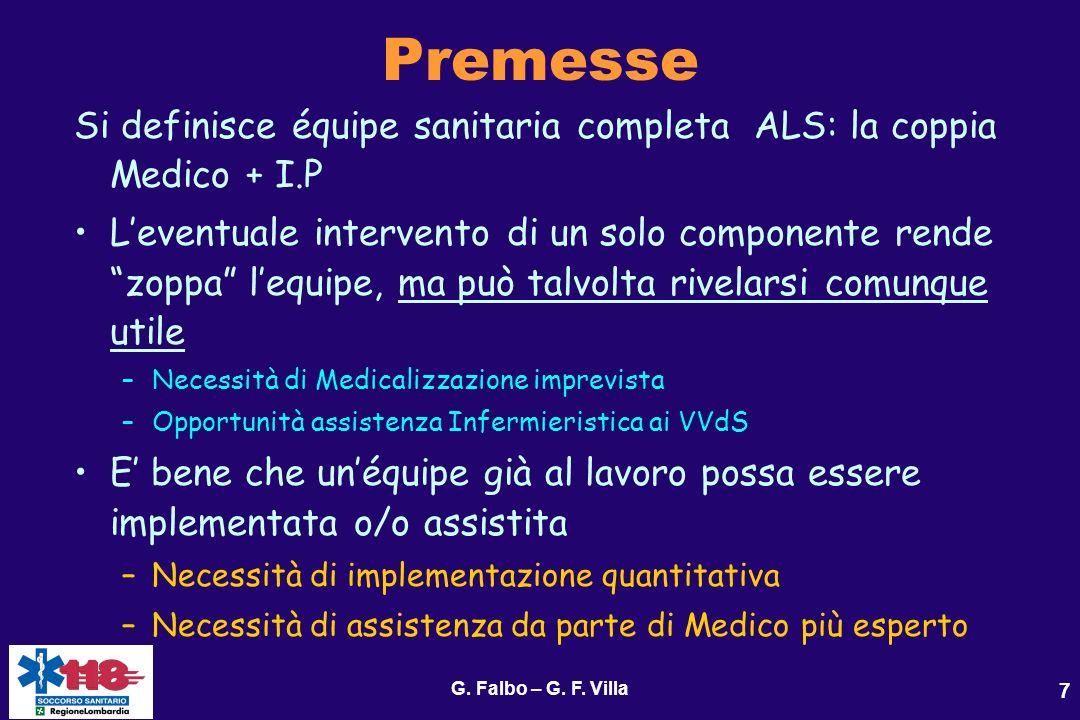 G. Falbo – G. F. Villa 7 Premesse Si definisce équipe sanitaria completa ALS: la coppia Medico + I.P Leventuale intervento di un solo componente rende