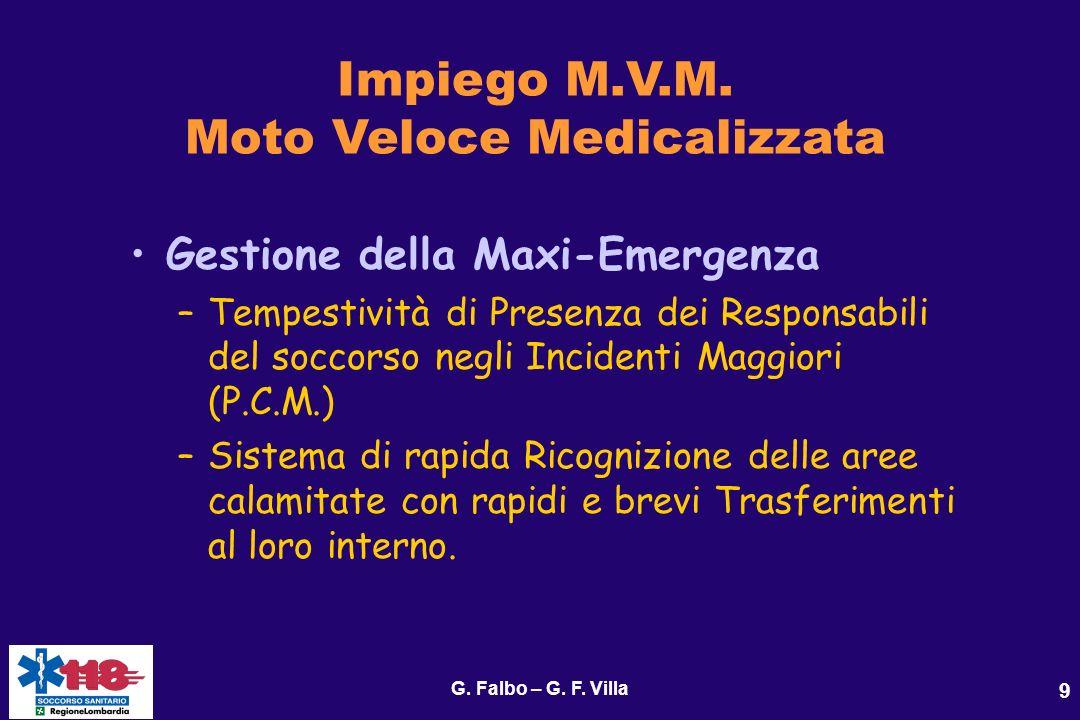 G. Falbo – G. F. Villa 9 Impiego M.V.M. Moto Veloce Medicalizzata Gestione della Maxi-Emergenza –Tempestività di Presenza dei Responsabili del soccors