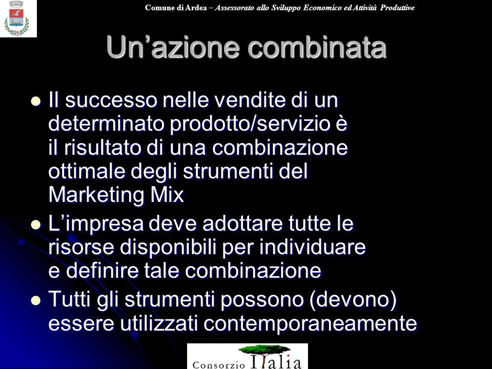 Comune di Ardea – Assessorato allo Sviluppo Economico ed Attività Produttive Unazione combinata Il successo nelle vendite di un determinato prodotto/s