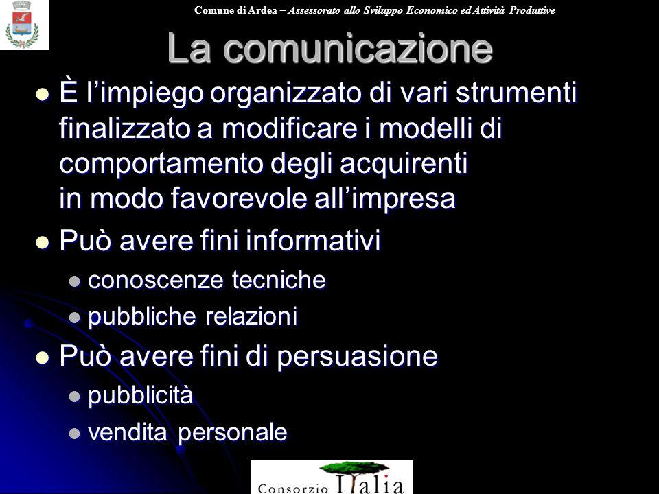 Comune di Ardea – Assessorato allo Sviluppo Economico ed Attività Produttive La comunicazione È limpiego organizzato di vari strumenti finalizzato a m