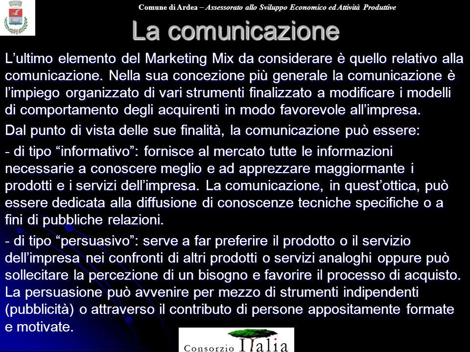 Comune di Ardea – Assessorato allo Sviluppo Economico ed Attività Produttive La comunicazione Lultimo elemento del Marketing Mix da considerare è quel