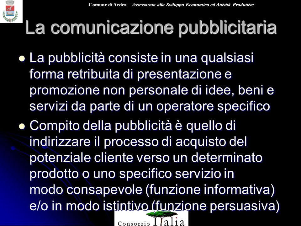 Comune di Ardea – Assessorato allo Sviluppo Economico ed Attività Produttive La comunicazione pubblicitaria La pubblicità consiste in una qualsiasi fo