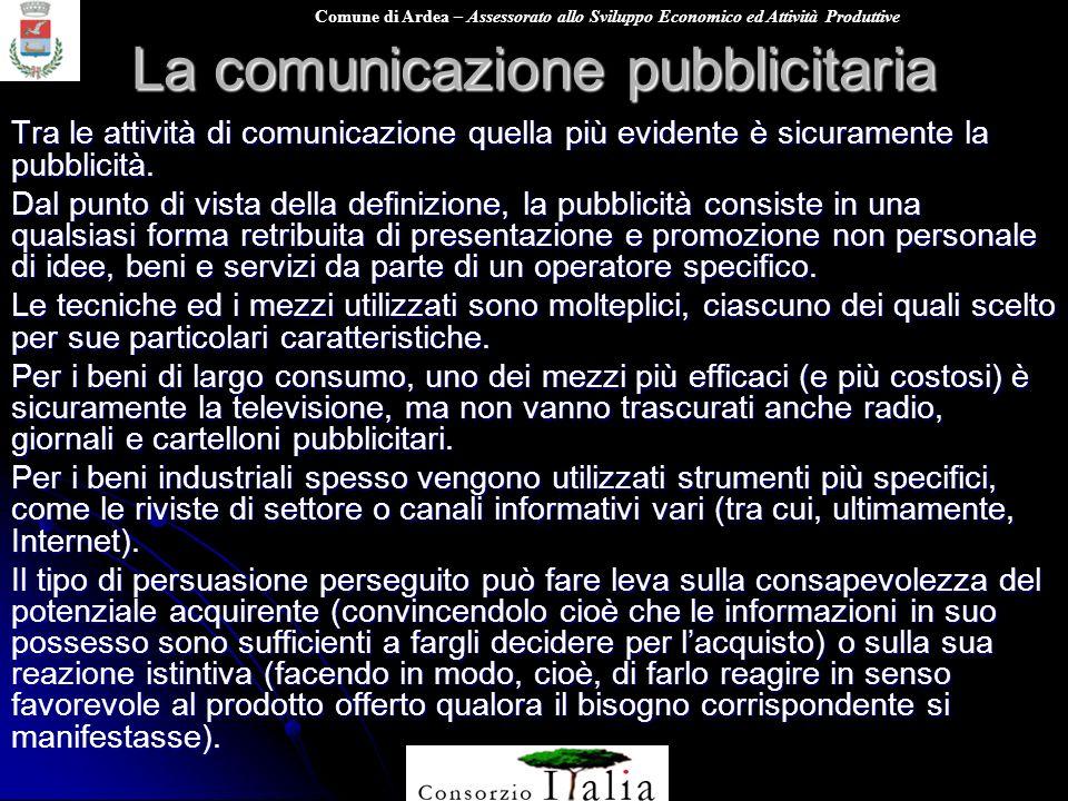 Comune di Ardea – Assessorato allo Sviluppo Economico ed Attività Produttive La comunicazione pubblicitaria Tra le attività di comunicazione quella pi