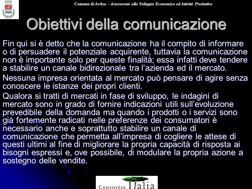 Comune di Ardea – Assessorato allo Sviluppo Economico ed Attività Produttive Obiettivi della comunicazione Fin qui si è detto che la comunicazione ha