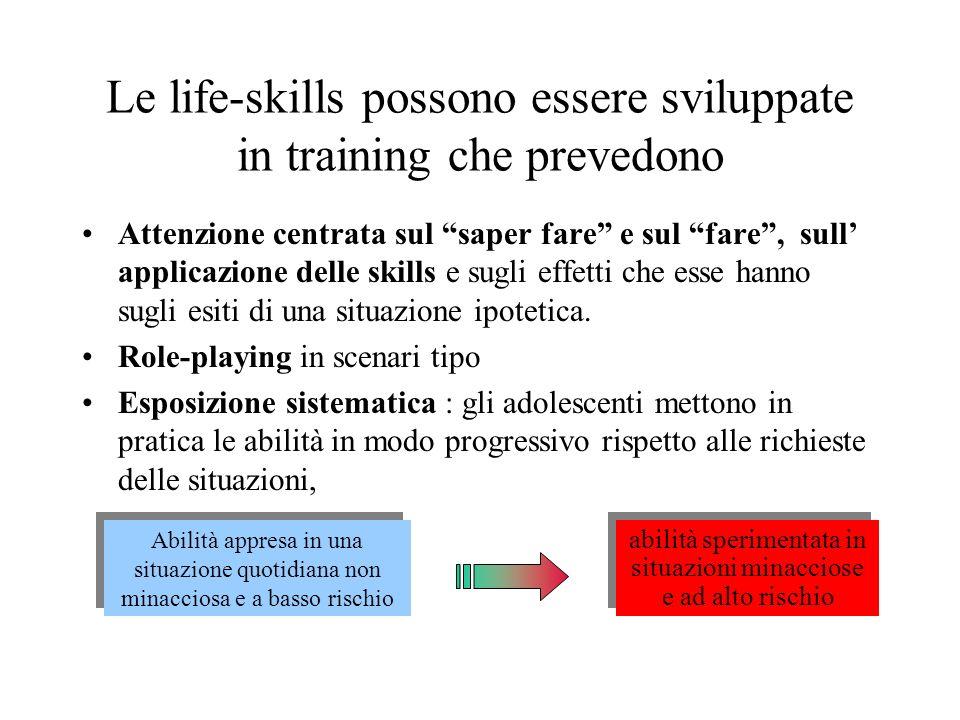 Le life-skills possono essere sviluppate in training che prevedono Attenzione centrata sul saper fare e sul fare, sull applicazione delle skills e sug