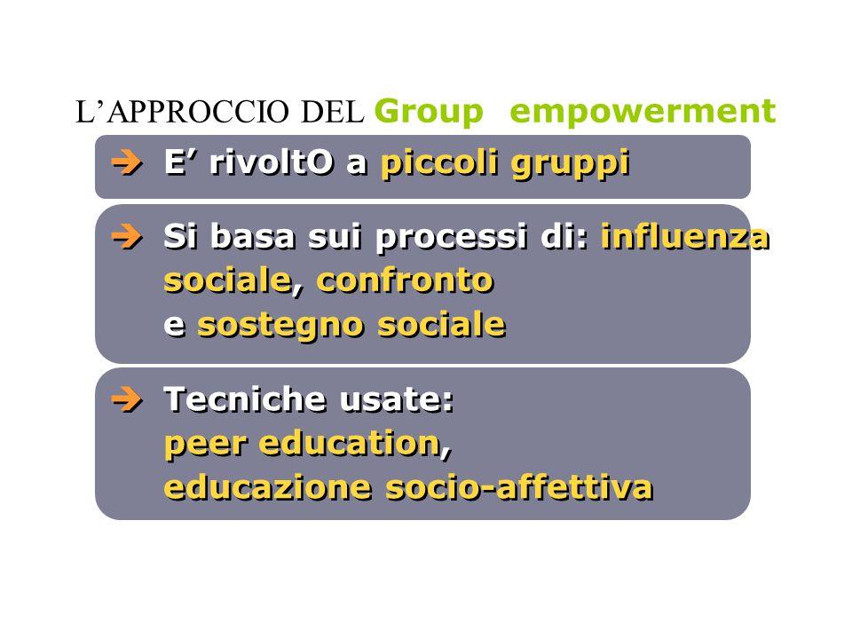 LAPPROCCIO DEL Group empowerment E rivoltO a piccoli gruppi Si basa sui processi di: influenza sociale, confronto e sostegno sociale Tecniche usate: p