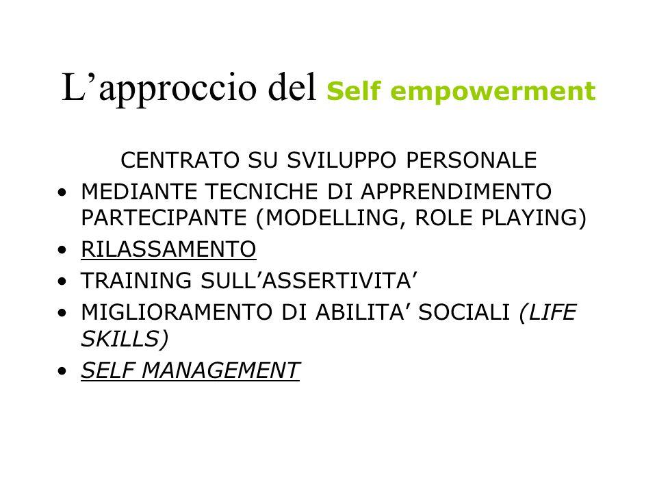 LAPPROCCIO DEL Group empowerment E rivoltO a piccoli gruppi Si basa sui processi di: influenza sociale, confronto e sostegno sociale Tecniche usate: peer education, educazione socio-affettiva