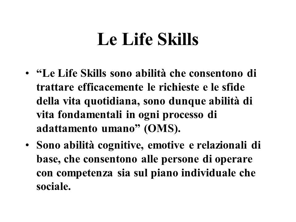 Le Life Skills sono 1.Problem solving: Capacità di affrontare e risolvere in modo costruttivo i problemi quotidiani 2.Pensiero creativo : Capacità di esplorare le alternative possibili e originali, di rispondere in maniera adattiva e flessibile alle situazioni della vita quotidiana.