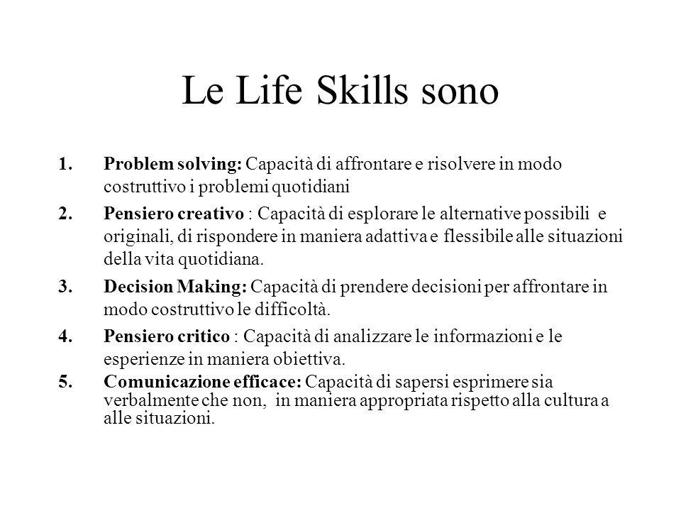 Le Life Skills sono 1.Problem solving: Capacità di affrontare e risolvere in modo costruttivo i problemi quotidiani 2.Pensiero creativo : Capacità di