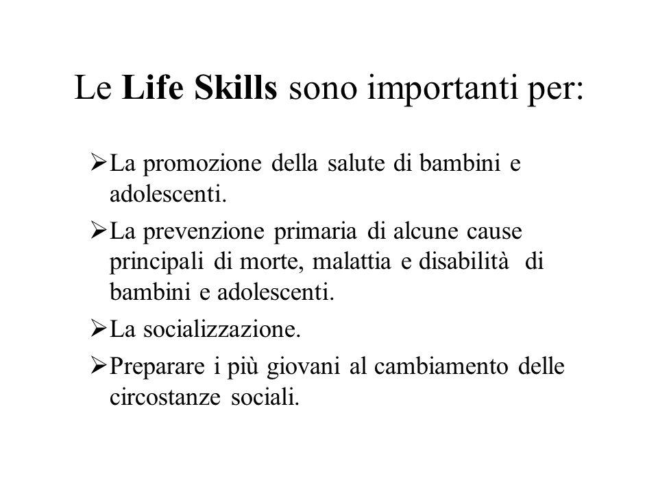 Le Life Skills sono importanti per: La promozione della salute di bambini e adolescenti. La prevenzione primaria di alcune cause principali di morte,